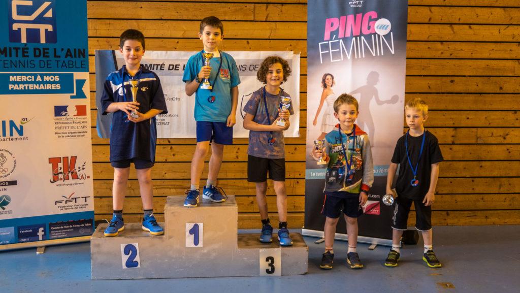 Podium des championnats de l'Ain de Tennis de Table catégorie poussins (-9 ans)